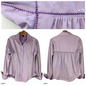 Gianfranco Ferre Purple Long Sleeve Shirt Crochet